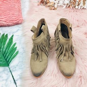 EUC Restricted Grey Leather Fringe Ankle Booties 6